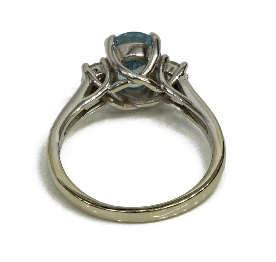 LADIES ESTATE 14KT WG, AQUAMARINE & DIAMOND RING - 3