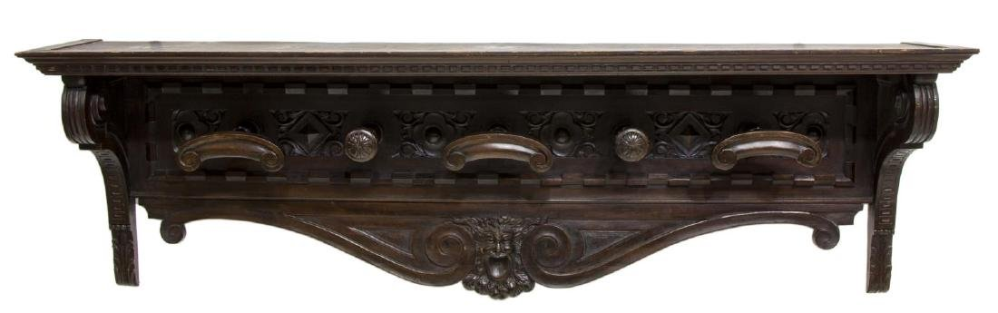 LARGE RENAISSANCE REVIVAL CARVED HAT RACK - 2