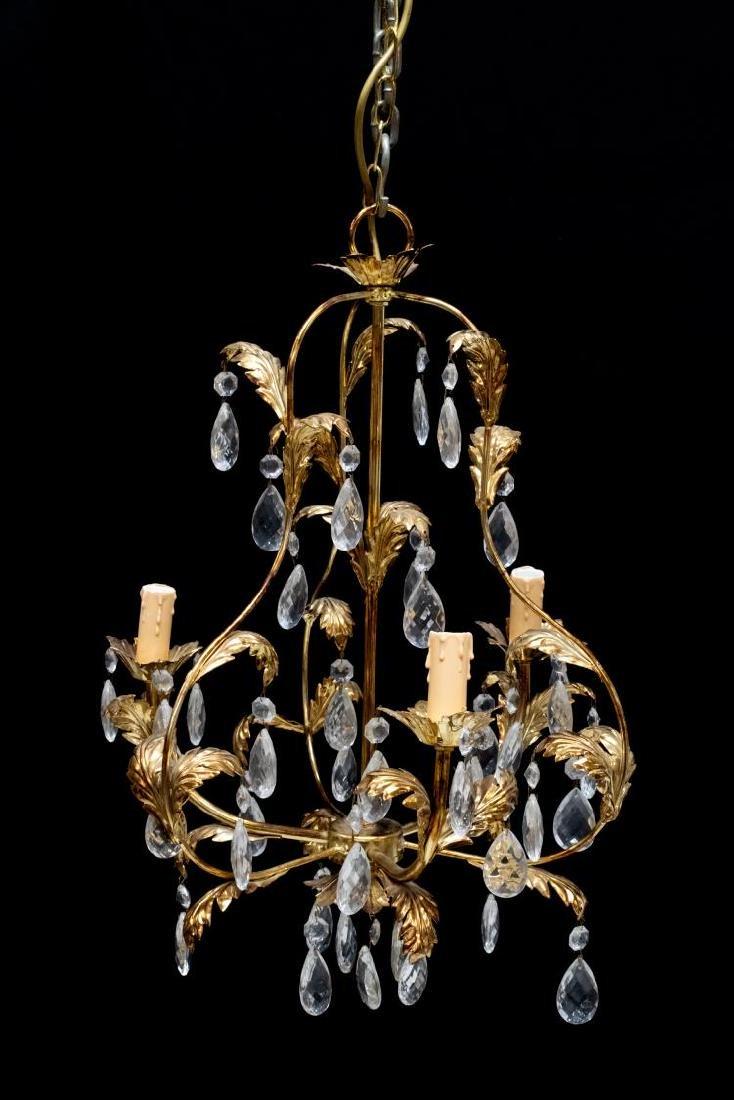 ITALIAN MODERN GILT FOLIATED 3-LIGHT CIELING LAMP