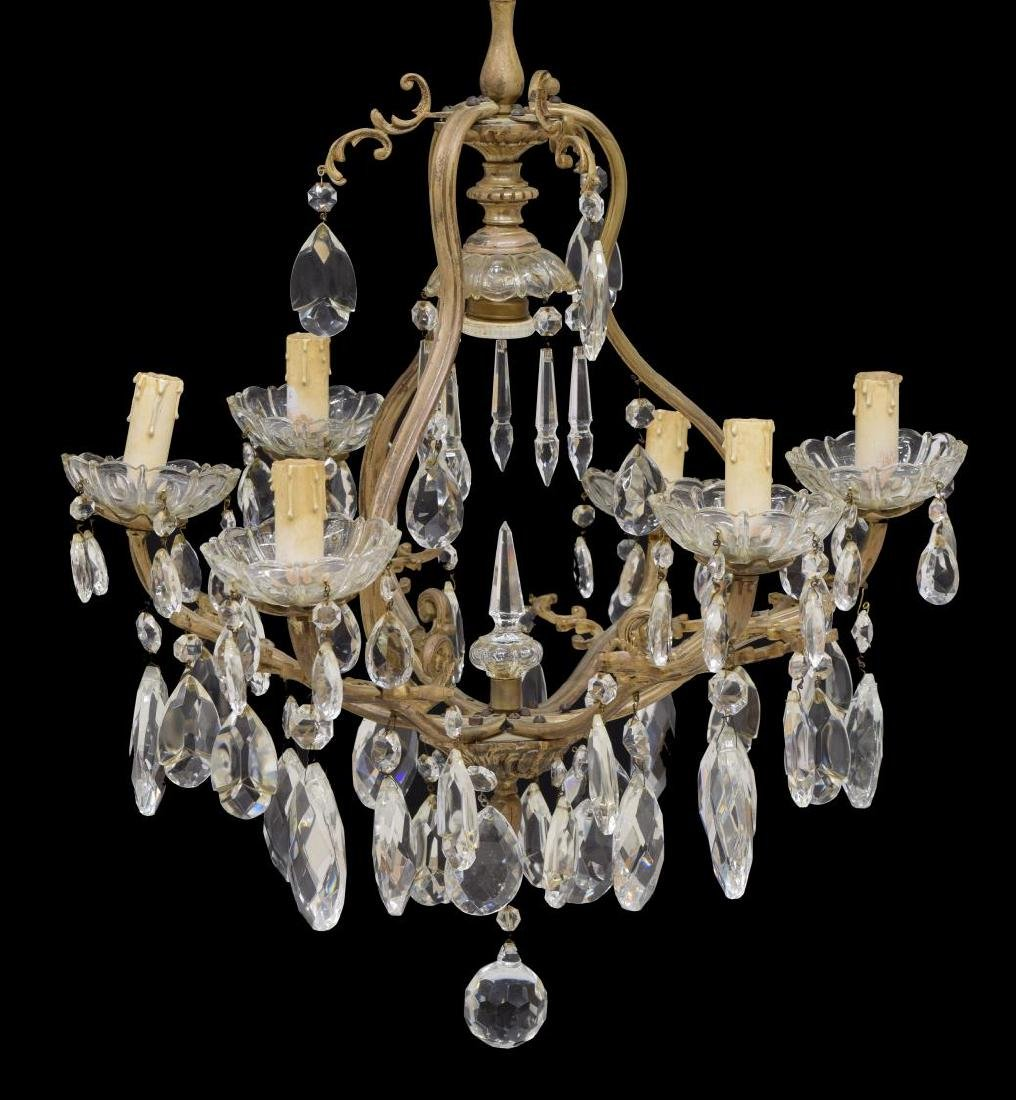 ITALIAN GILT METAL & PRISM 6-LIGHT CHANDELIER