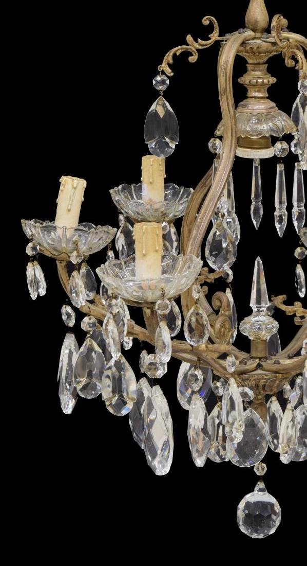 ITALIAN GILT METAL & PRISM 6-LIGHT CHANDELIER - 3