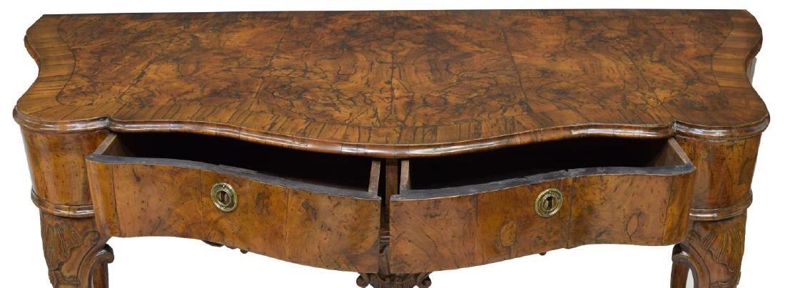 ITALIAN BURL WALNUT CONSOLE TABLE - 4