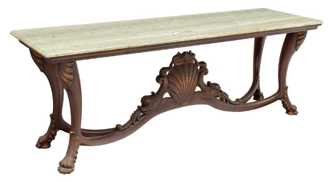 DOLPHIN CARVED MARBLE TOP CONSOLE TABLE