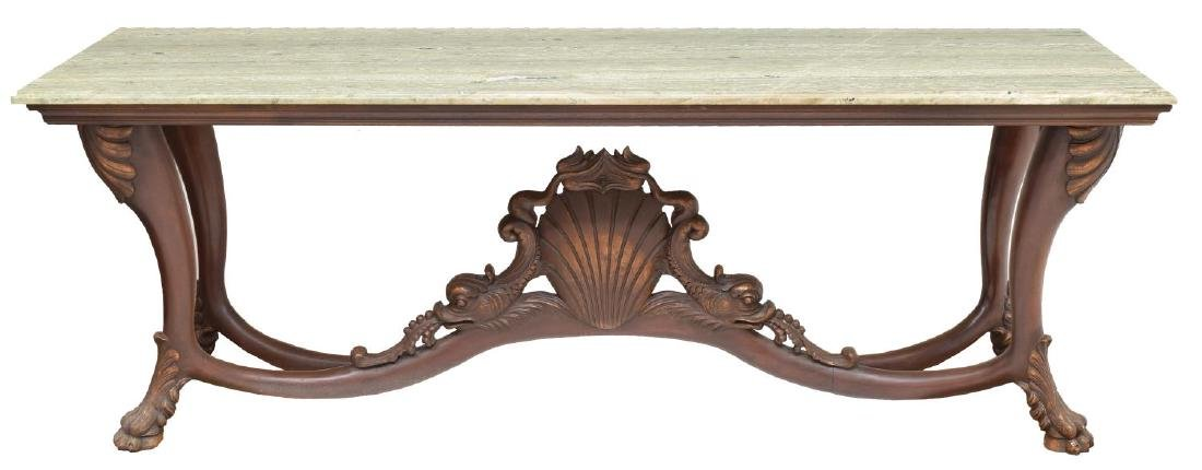 DOLPHIN CARVED MARBLE TOP CONSOLE TABLE - 2