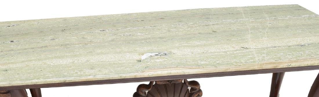 DOLPHIN CARVED MARBLE TOP CONSOLE TABLE - 3
