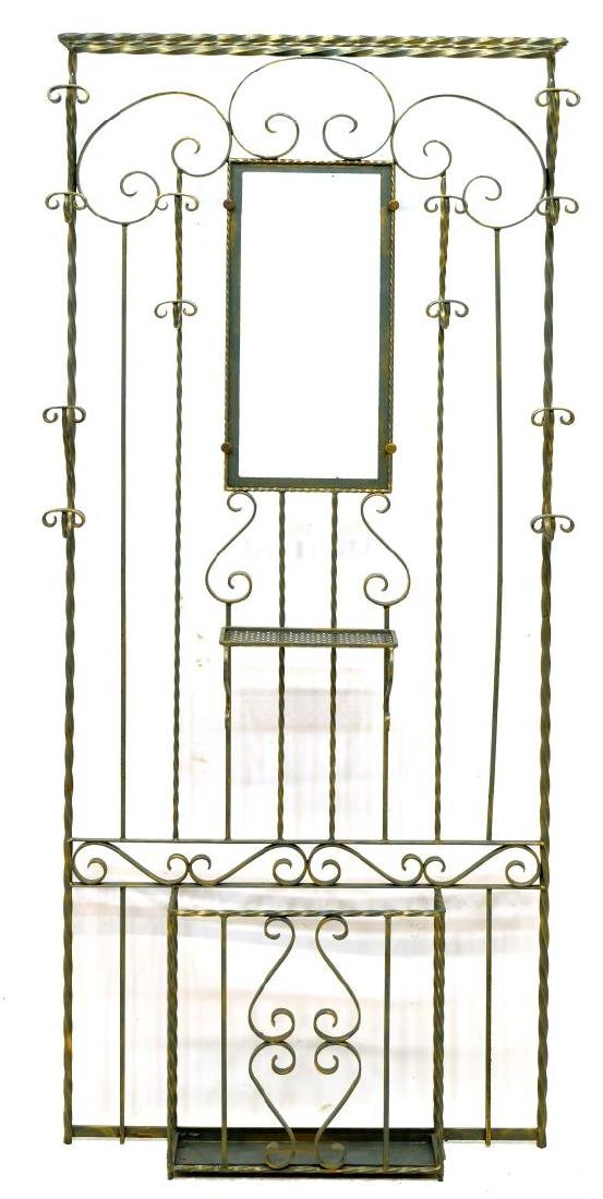 FRENCH PARCEL GILT WROUGHT IRON HALL TREE - 2