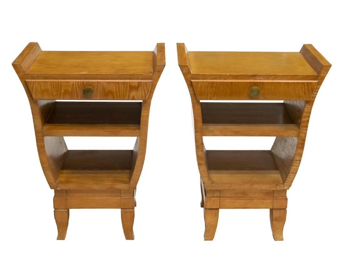 (2) FRENCH ART NOUVEAU LIGHT OAK SIDE TABLES - 2