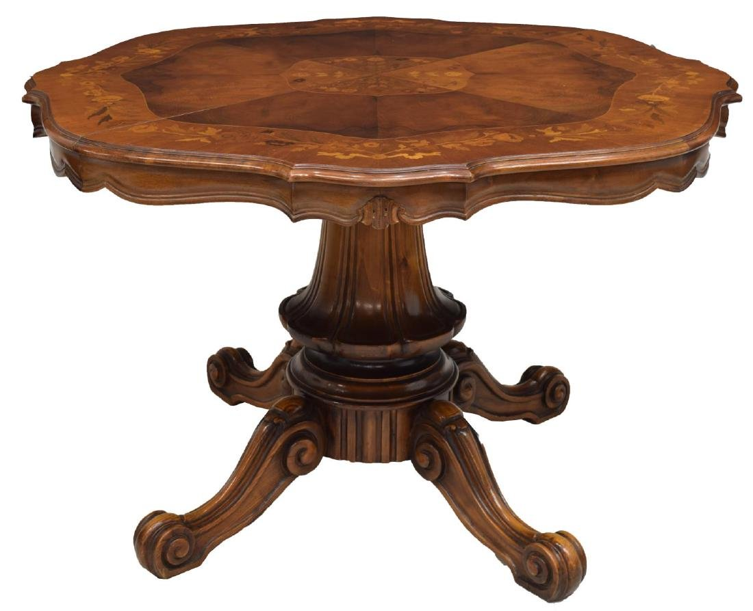 ITALIAN FLORAL MARQUETRY INALY DINING TABLE