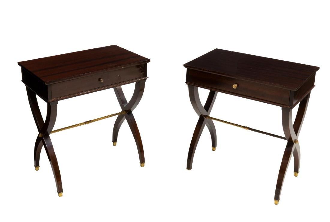 2) LOUIS XVI STYLE HIGH GLOSS MAHOGANY SIDE TABLES