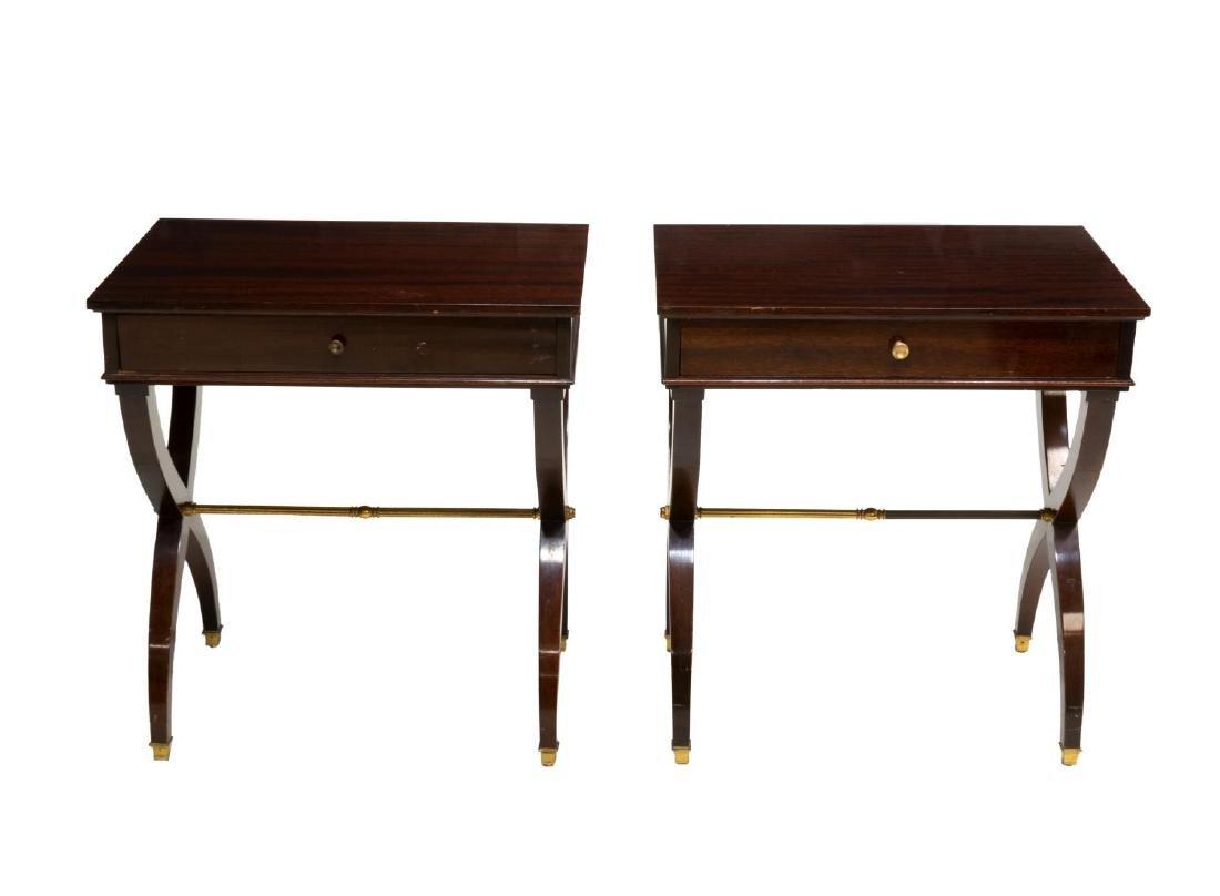 2) LOUIS XVI STYLE HIGH GLOSS MAHOGANY SIDE TABLES - 2