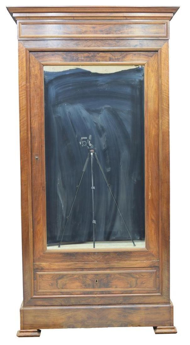 NAPOLEON III WALNUT SINGLE MIRRORED DOOR ARMOIRE - 2