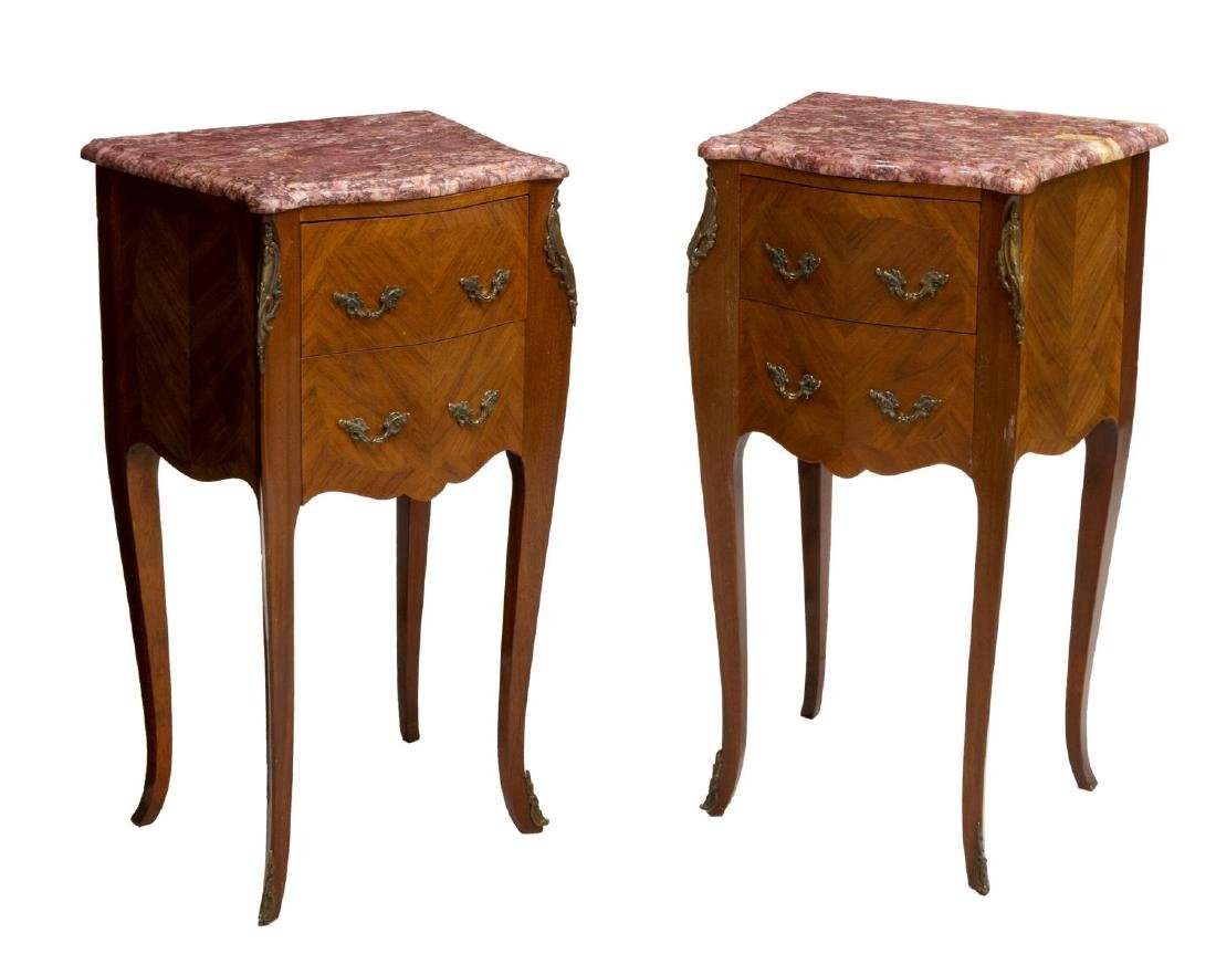 (2) LOUIS XV STYLE MARBLE TOP MATCHED SIDE TABLES