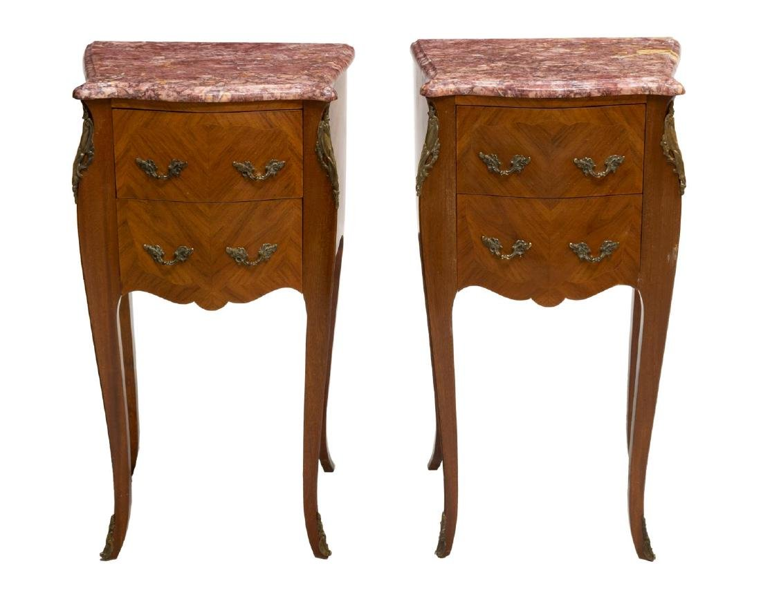 (2) LOUIS XV STYLE MARBLE TOP MATCHED SIDE TABLES - 2
