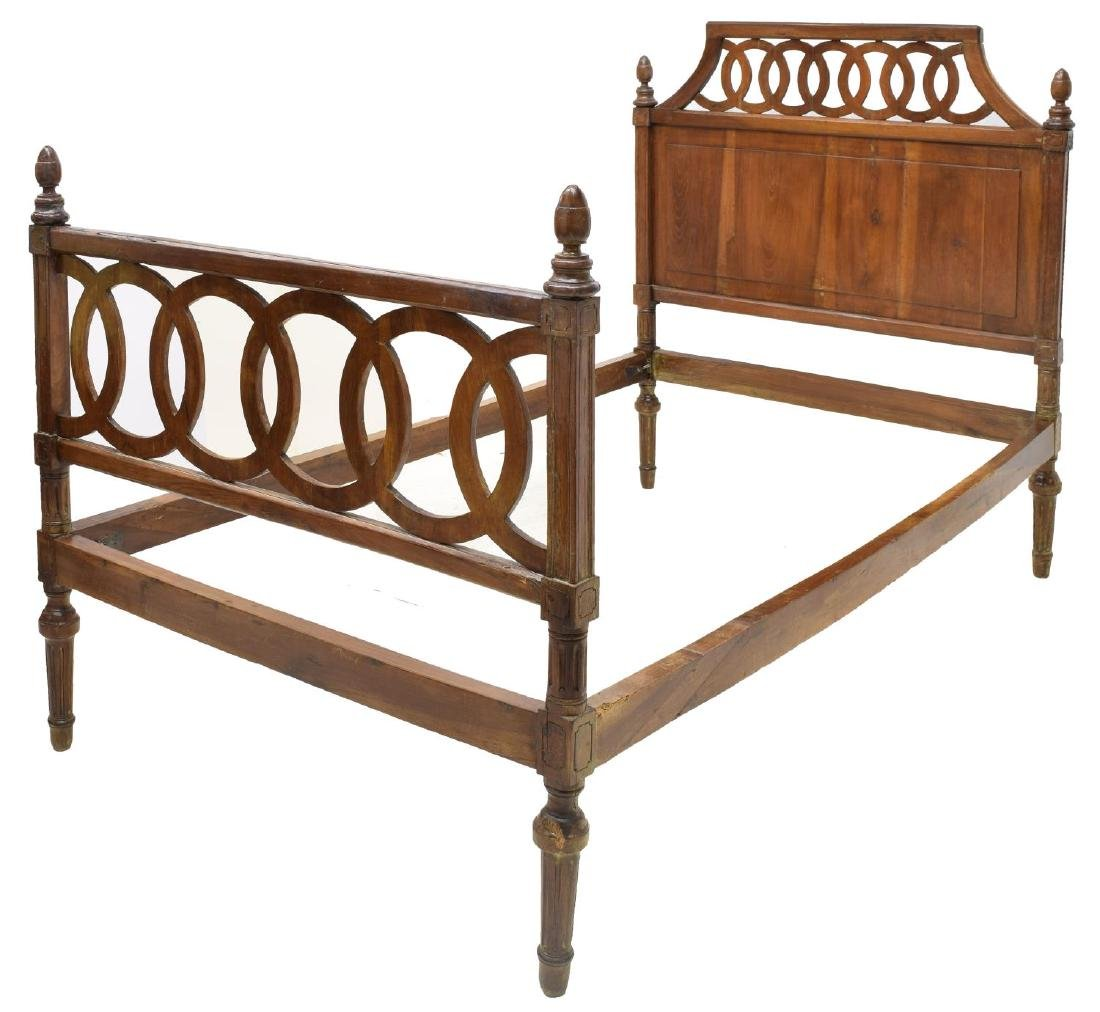 VINTAGE ITALIAN WALNUT BED W/ PIERCED HEADBOARD