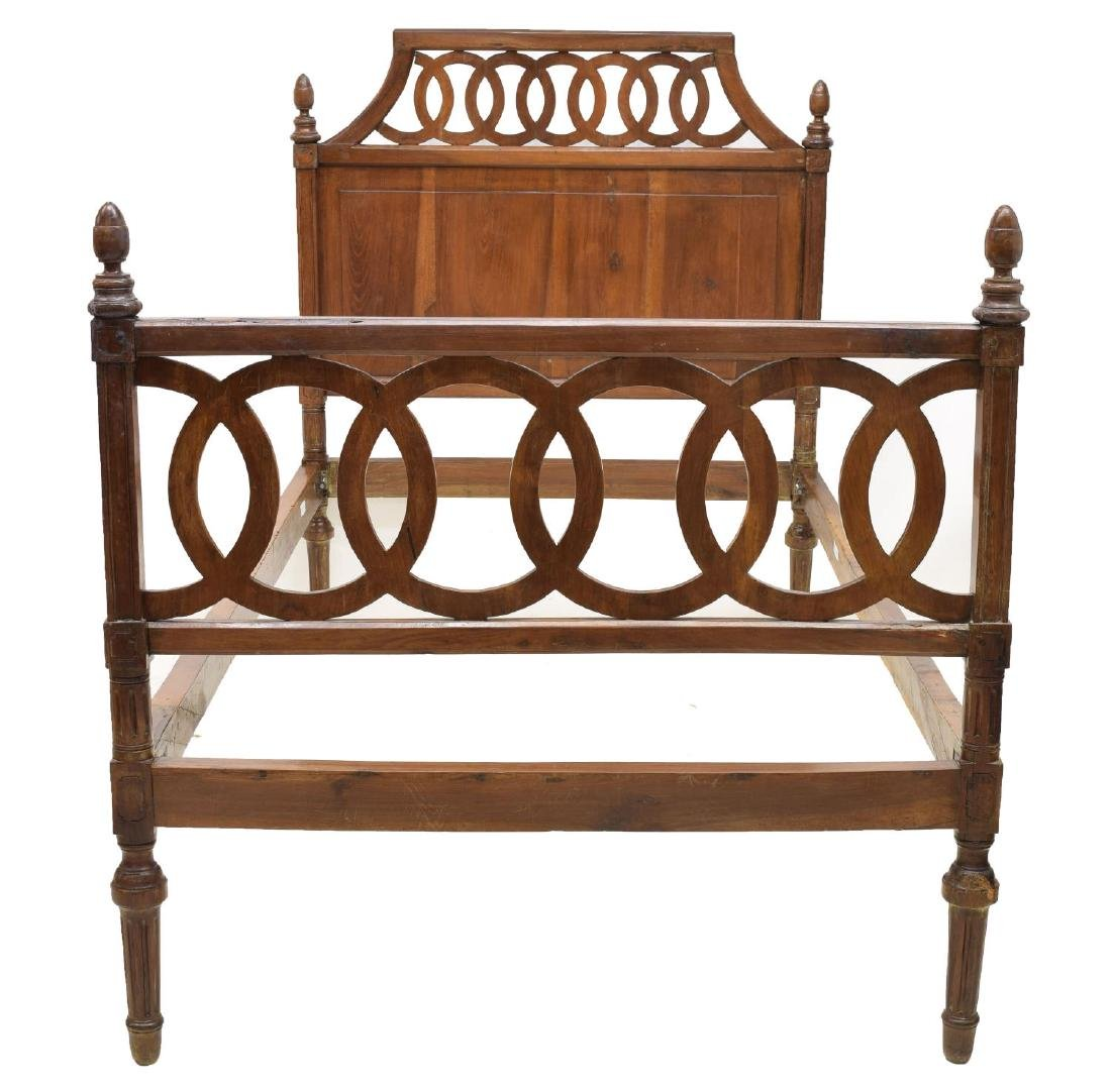 VINTAGE ITALIAN WALNUT BED W/ PIERCED HEADBOARD - 3