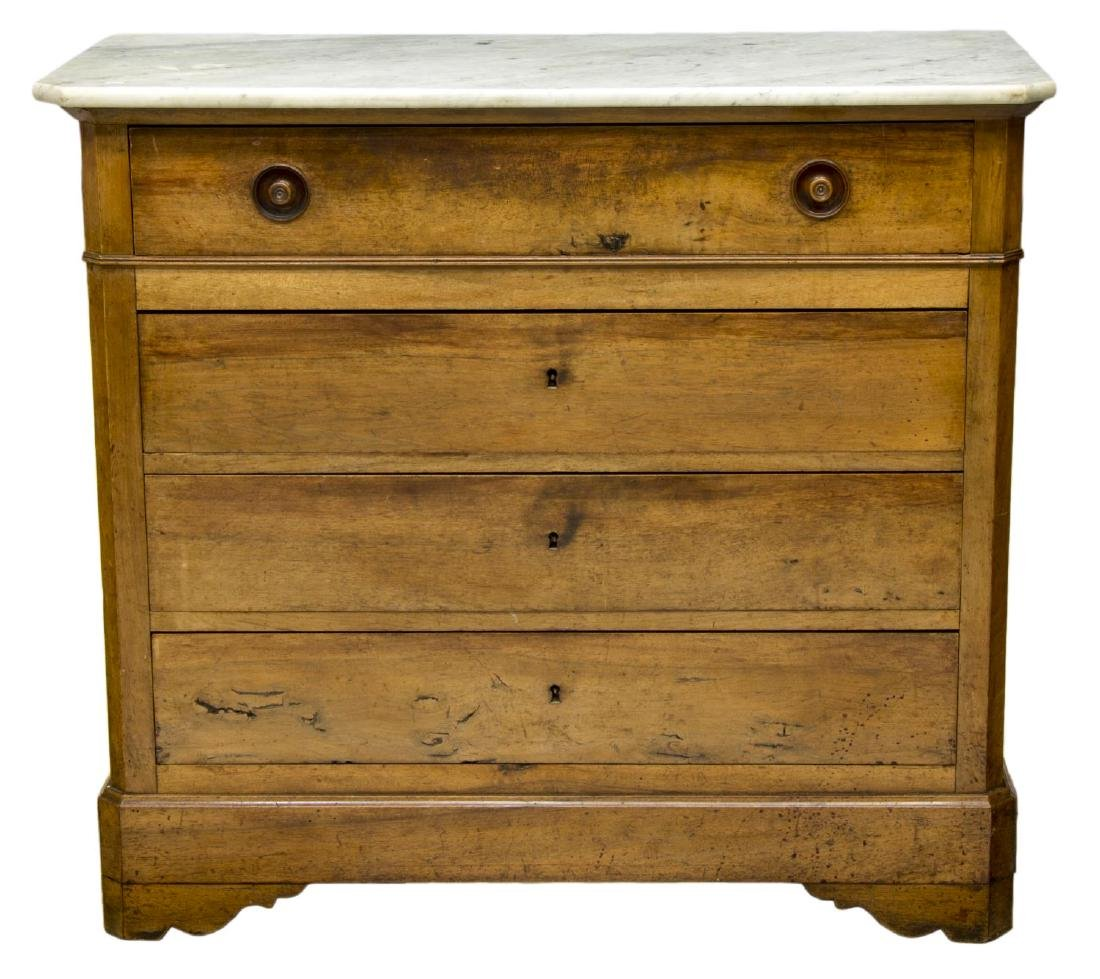 FRENCH CHARLES X MARBLE TOP WALNUT COMMODE - 2