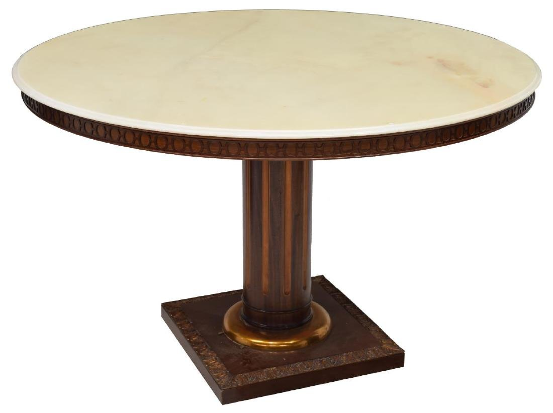 FRENCH EMPIRE STYLE MARBLE TOP DINING TABLE