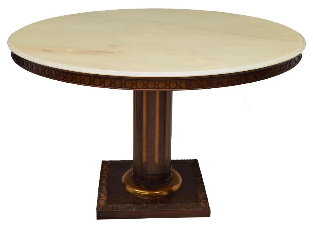 FRENCH EMPIRE STYLE MARBLE TOP DINING TABLE - 2