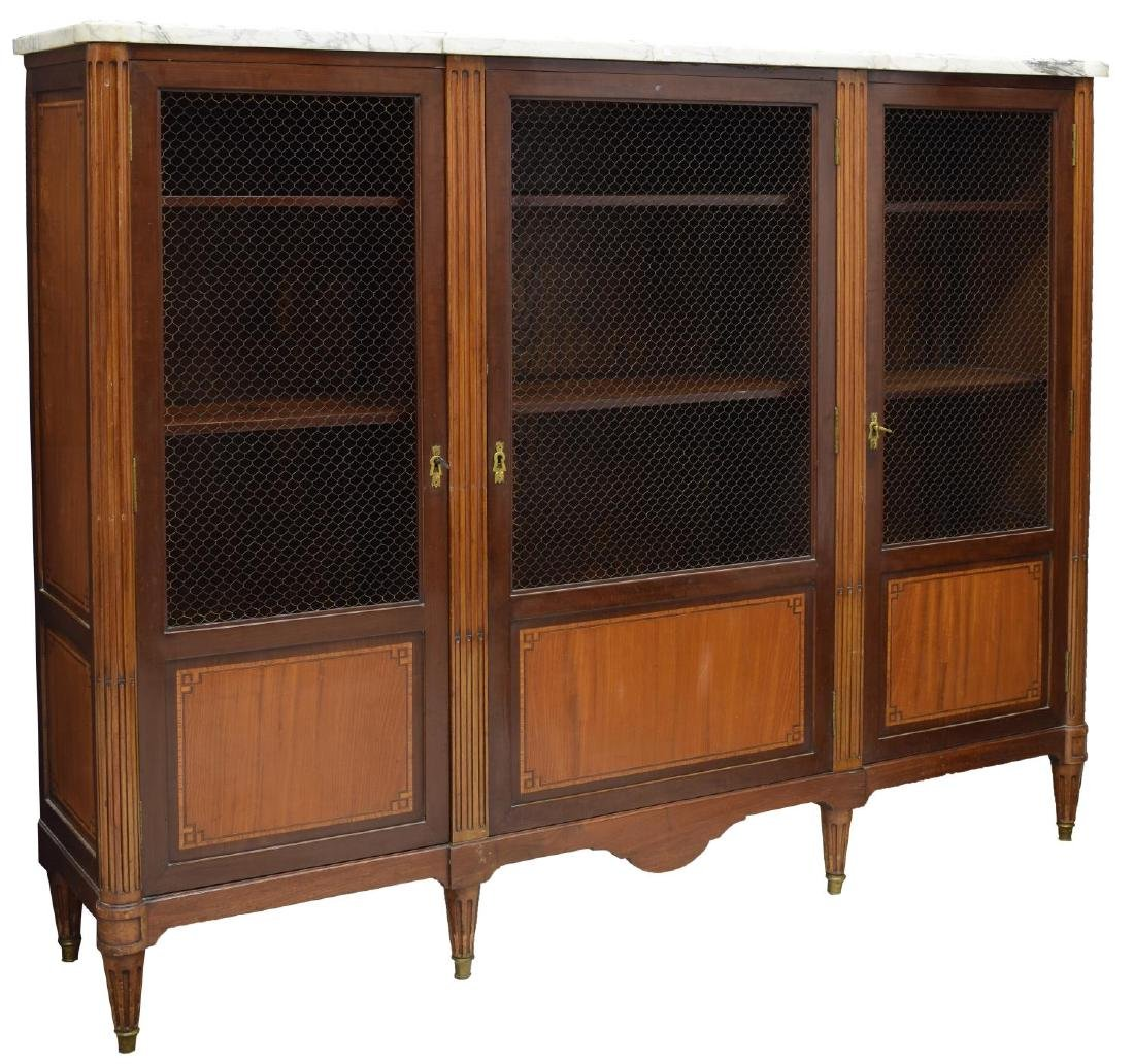FRENCH LOUIS XVI STYLE TRIPLE DOOR BOOKCASE