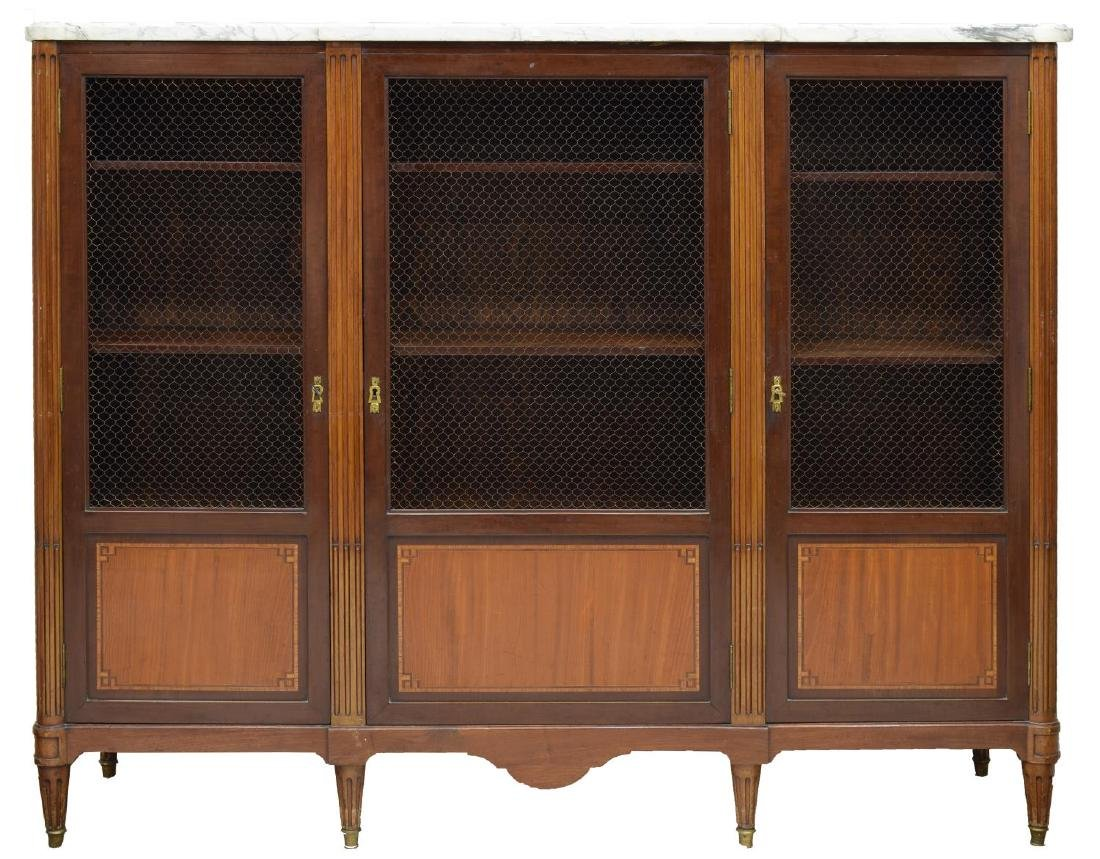 FRENCH LOUIS XVI STYLE TRIPLE DOOR BOOKCASE - 2