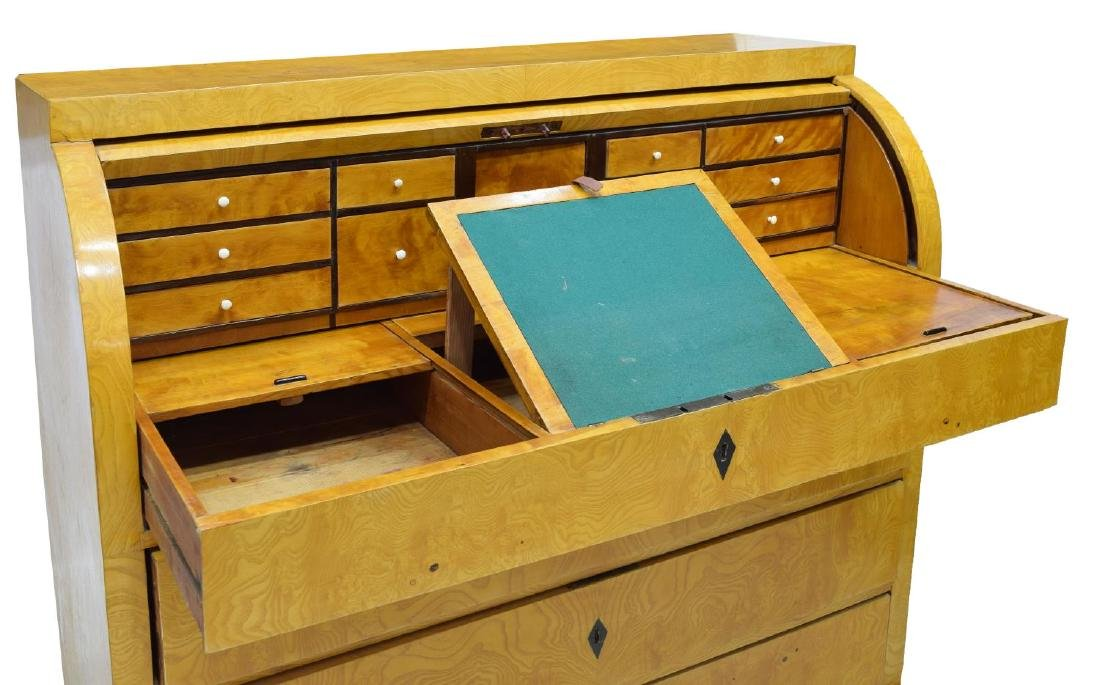 DANISH BIEDERMEIER FIGURED ASH SECRETARY DESK - 2