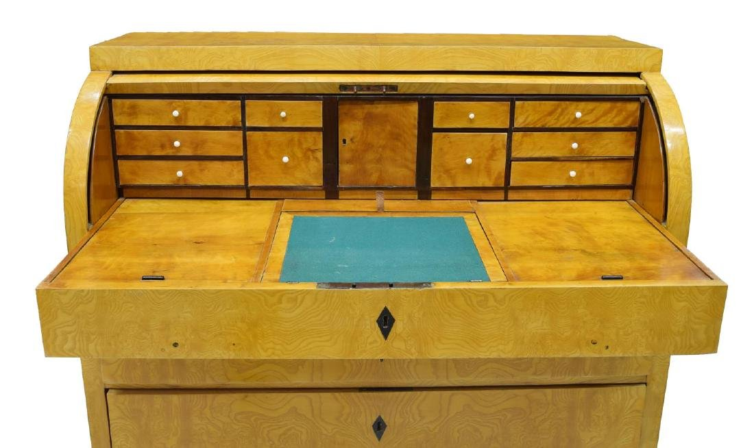 DANISH BIEDERMEIER FIGURED ASH SECRETARY DESK - 3