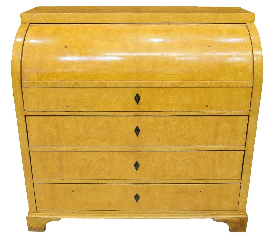 DANISH BIEDERMEIER FIGURED ASH SECRETARY DESK - 4