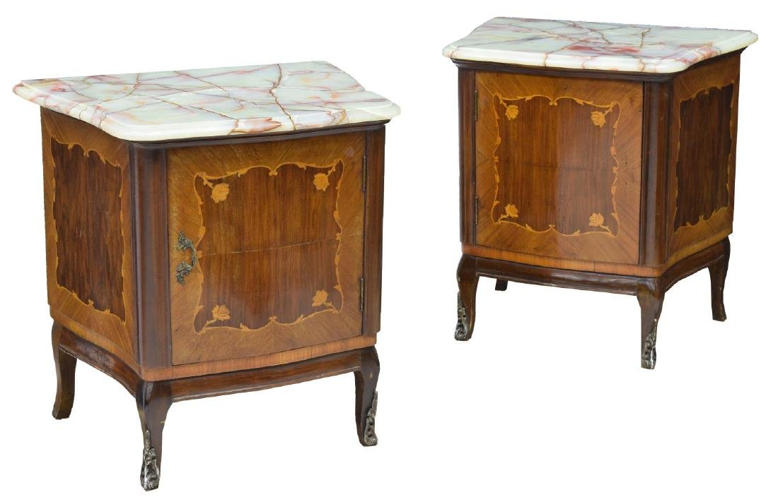 (2) LOUIS XV STYLE MARQUETRY WALNUT SIDE CABINET