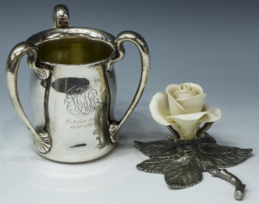(2) GROUP OF STERLING SILVER & PEWTER CABINETWARE