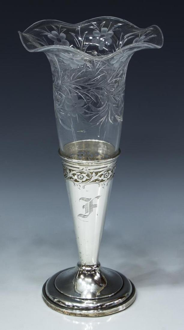 AMERICAN STERLING SILVER & FLORAL CUT EPERGNE
