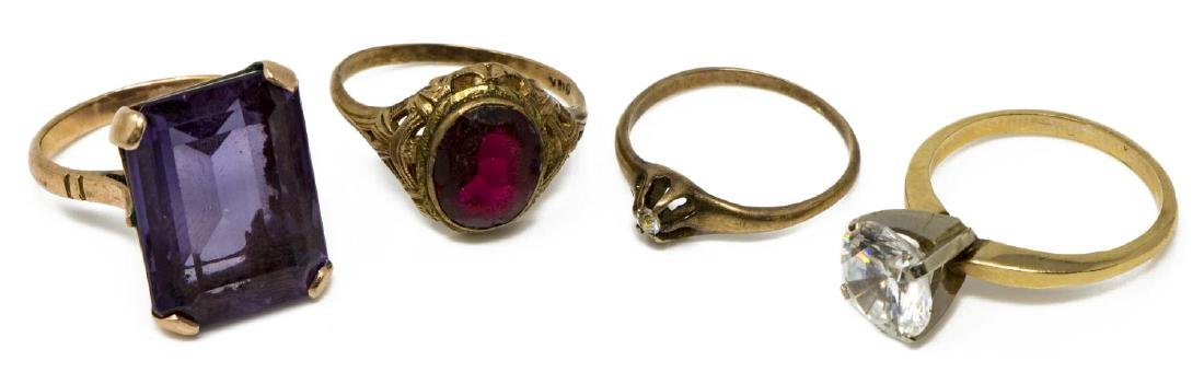 (4) ANTIQUE & VINTAGE GOLD & STONE RING GROUP
