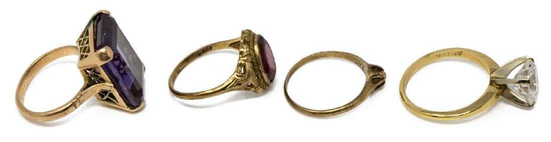 (4) ANTIQUE & VINTAGE GOLD & STONE RING GROUP - 2