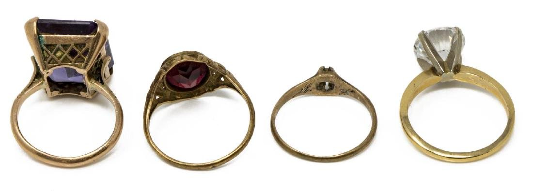 (4) ANTIQUE & VINTAGE GOLD & STONE RING GROUP - 3