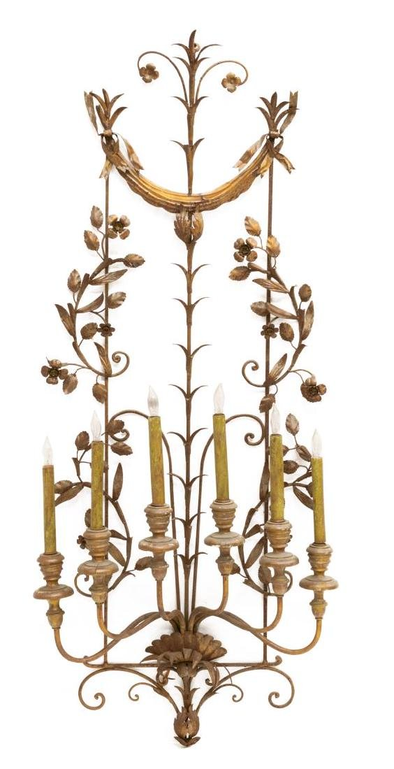 SCROLLED IRONWORK SIX-LIGHT WALL SCONCE