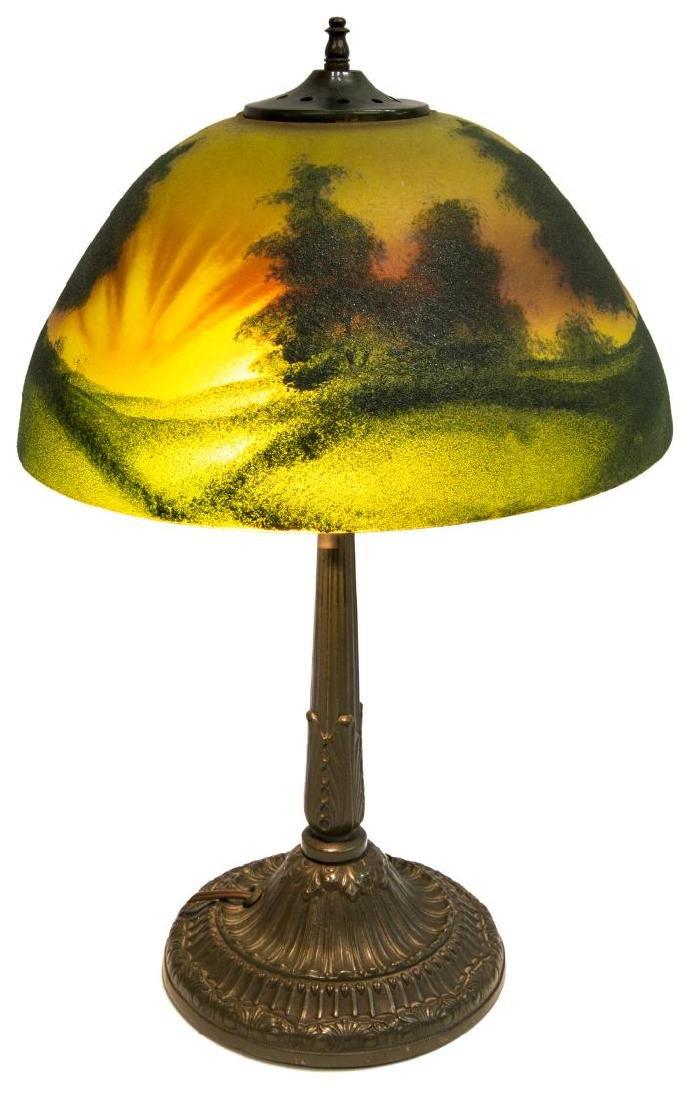 REVERSE PAINTED SUNRISE 2 LIGHT TABLE LAMP