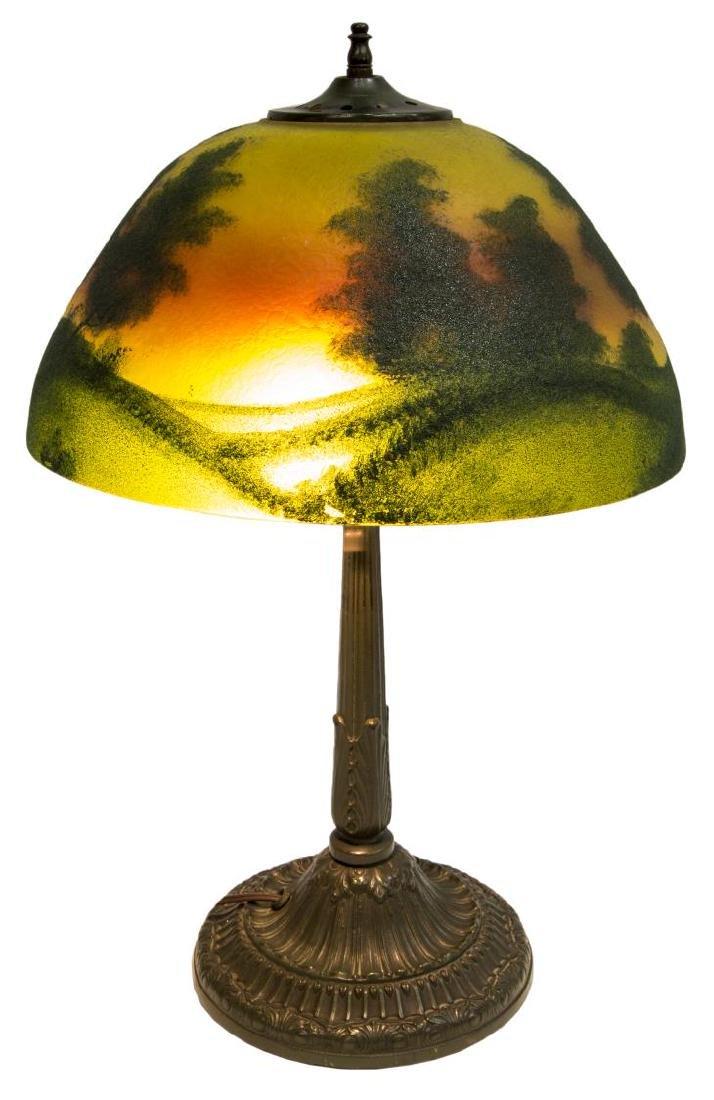 REVERSE PAINTED SUNRISE 2 LIGHT TABLE LAMP - 4