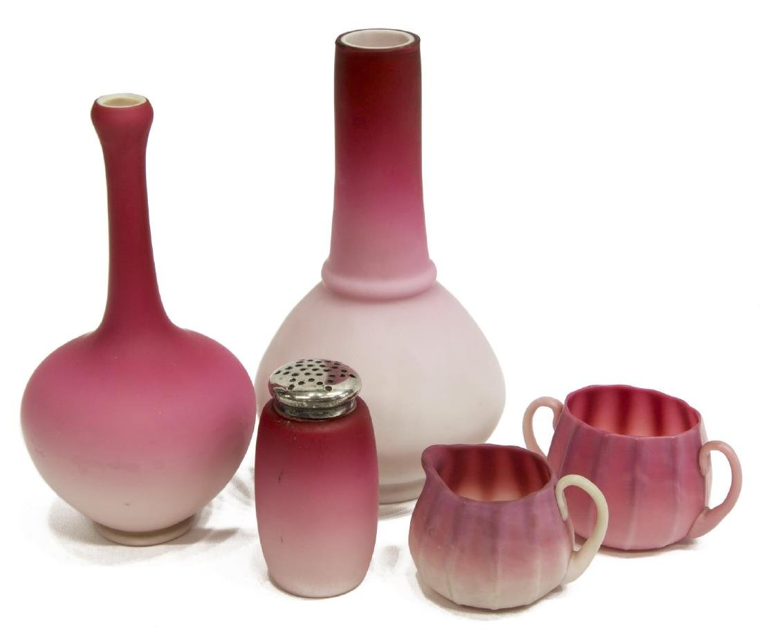 (5) PEACHBLOW & PINK SATIN ART GLASS CABINET WARE