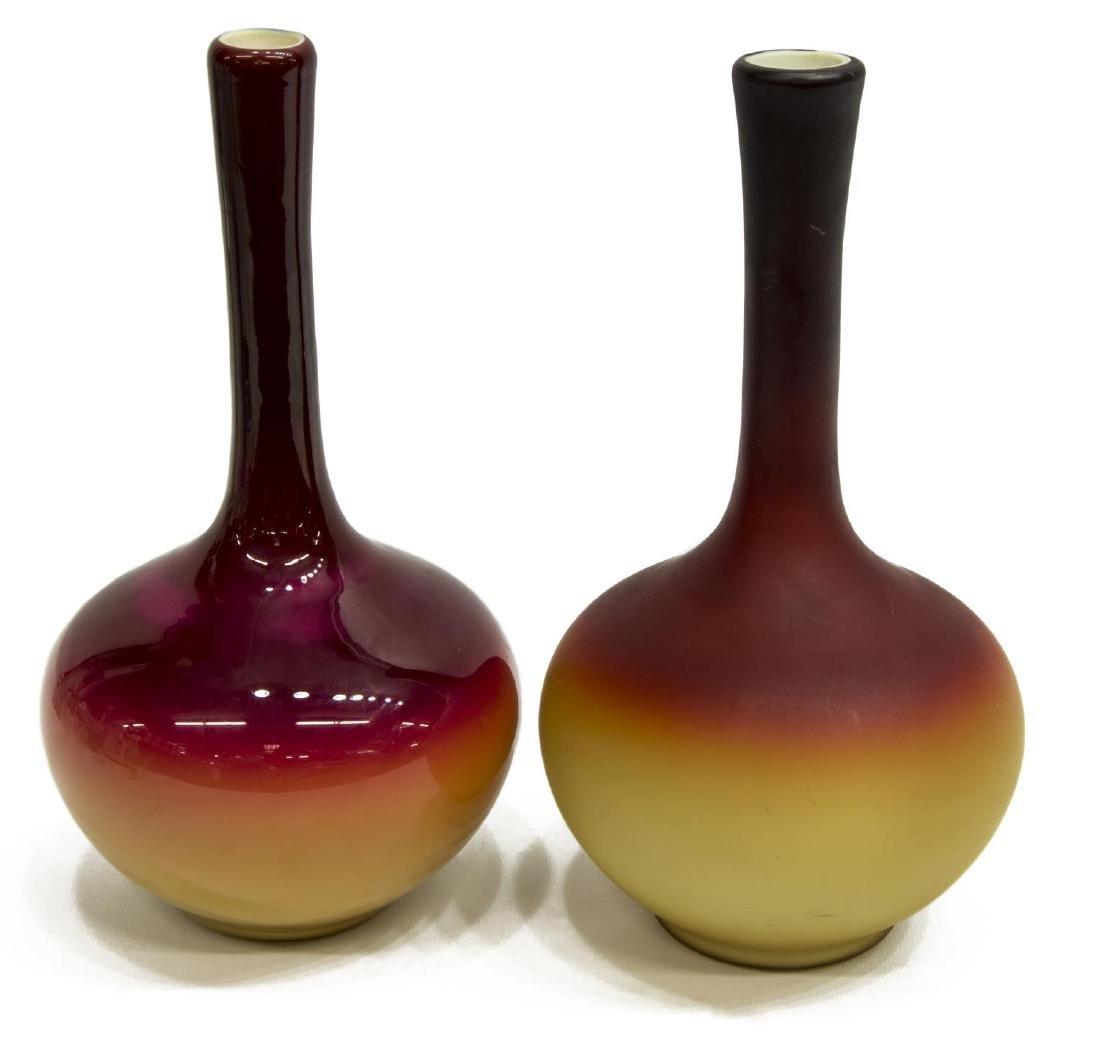(2) ANTIQUE CASED ART GLASS STICK NECK VASES