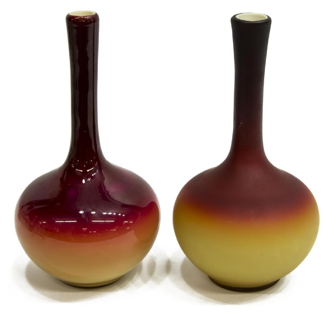 (2) ANTIQUE CASED ART GLASS STICK NECK VASES - 2