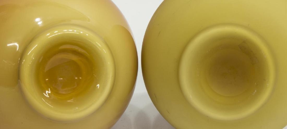 (2) ANTIQUE CASED ART GLASS STICK NECK VASES - 3