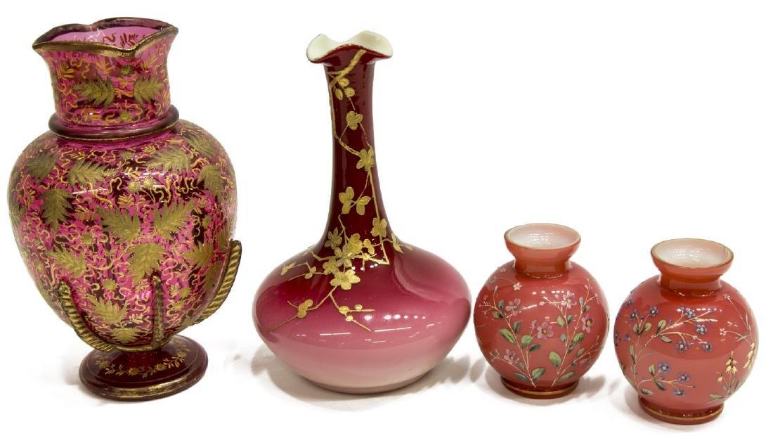(4) PEACHBLOW & GILDED & ENAMELED ART GLASS VASES