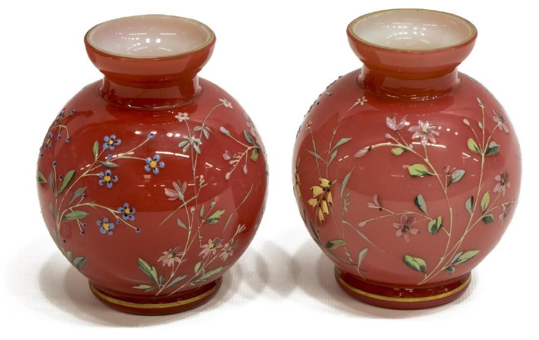 (4) PEACHBLOW & GILDED & ENAMELED ART GLASS VASES - 4