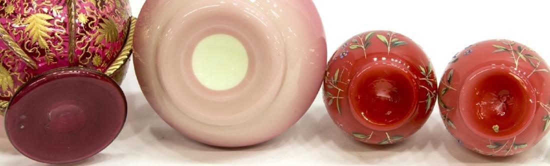 (4) PEACHBLOW & GILDED & ENAMELED ART GLASS VASES - 5