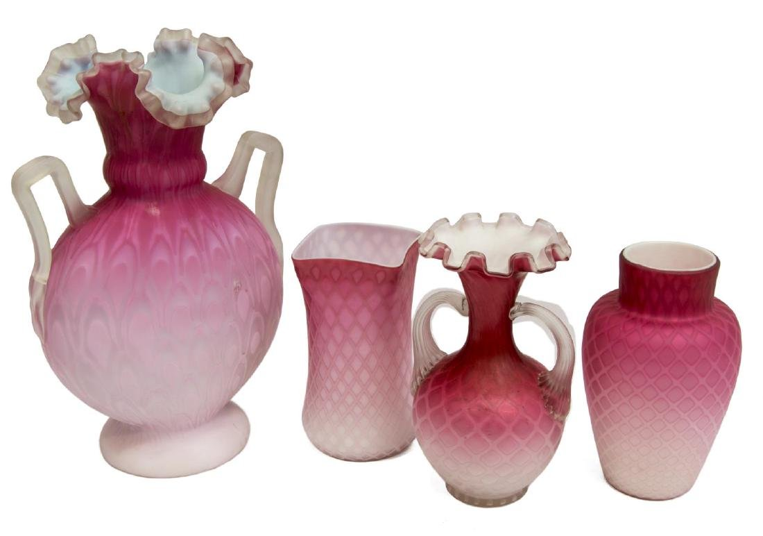 4)VICTORIAN MOP PINK SATIN ART GLASS CABINET VASES