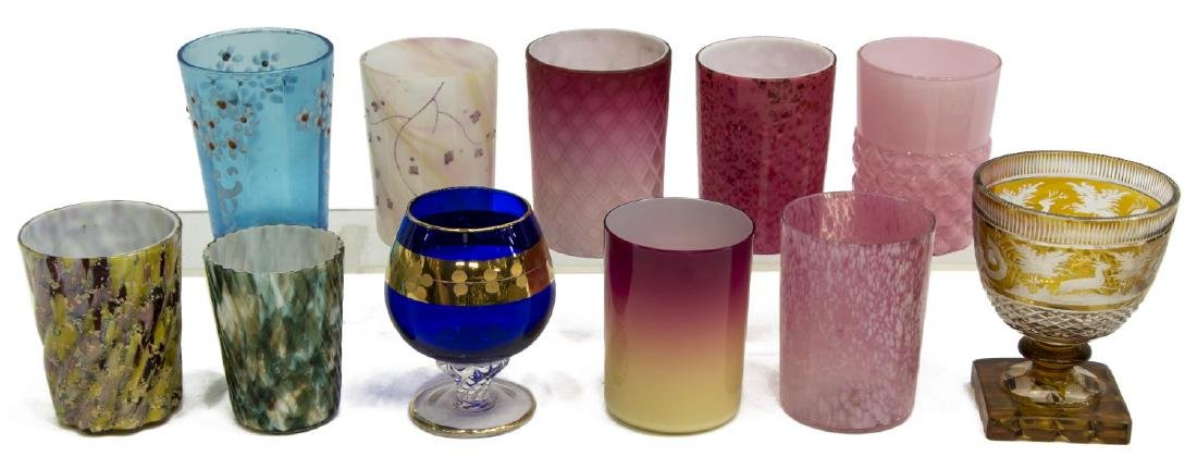 11) VICTORIAN ART GLASS TUMBLERS & BOHEMIAN GOBLET