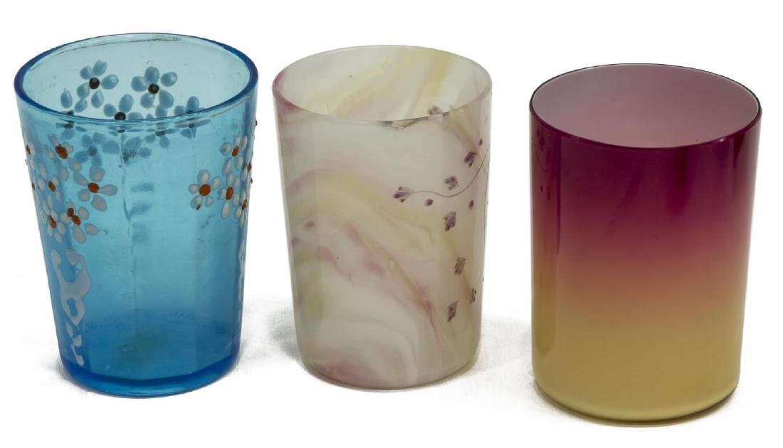 11) VICTORIAN ART GLASS TUMBLERS & BOHEMIAN GOBLET - 2