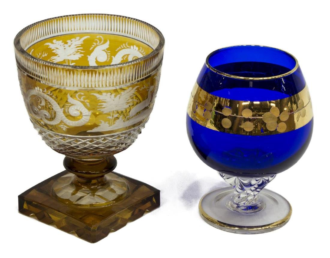 11) VICTORIAN ART GLASS TUMBLERS & BOHEMIAN GOBLET - 5