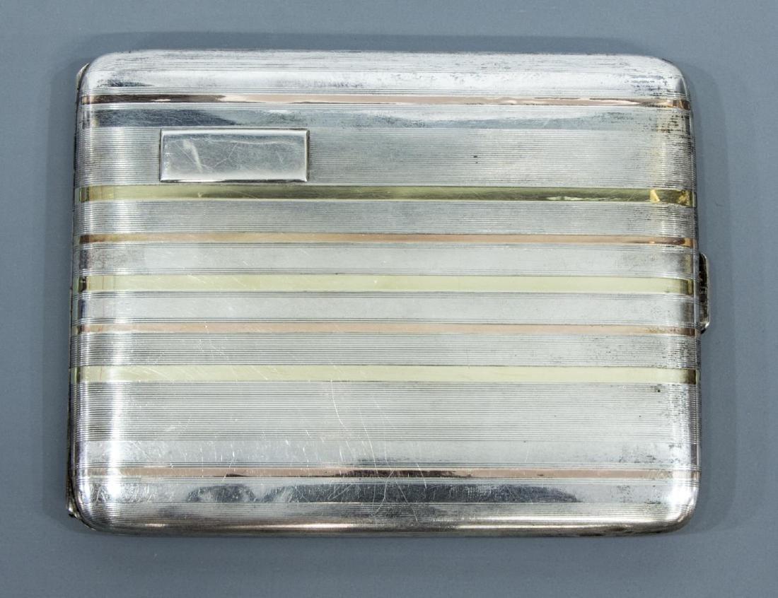 14K GOLD & STERLING SILVER CIGARETTE CASE