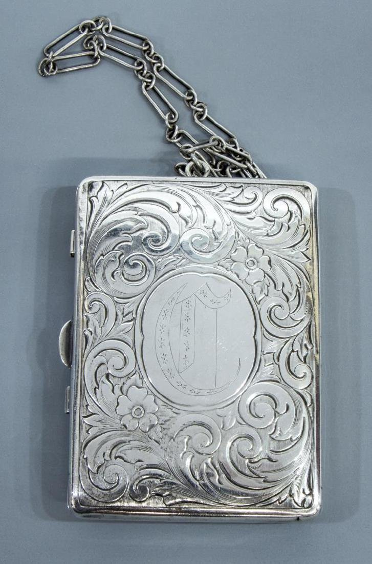 STERLING SILVER COMPACT WALLET ON CHAIN - 2