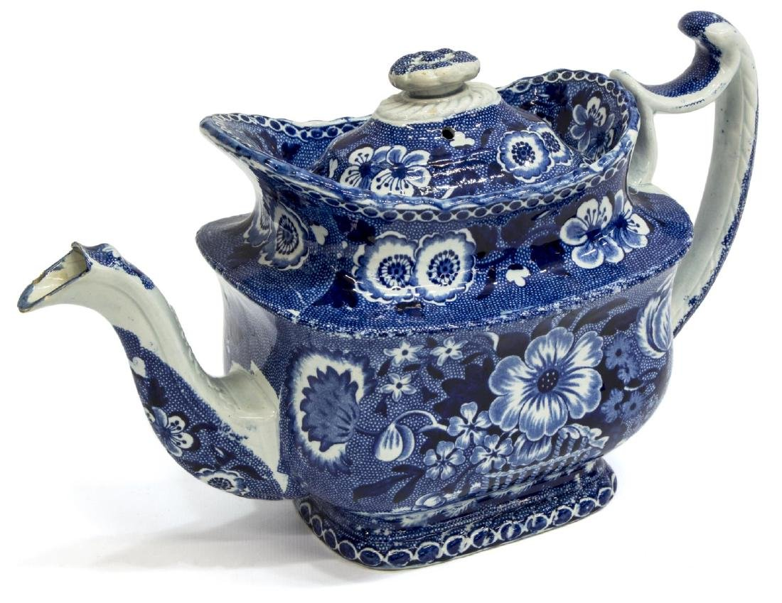 ENGLISH STAFFORDSHIRE DARK BLUE TEAPOT, WOODS